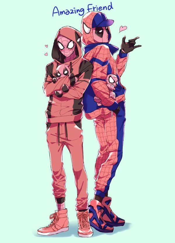 Superhero Deadpool And Spider Man Drawings