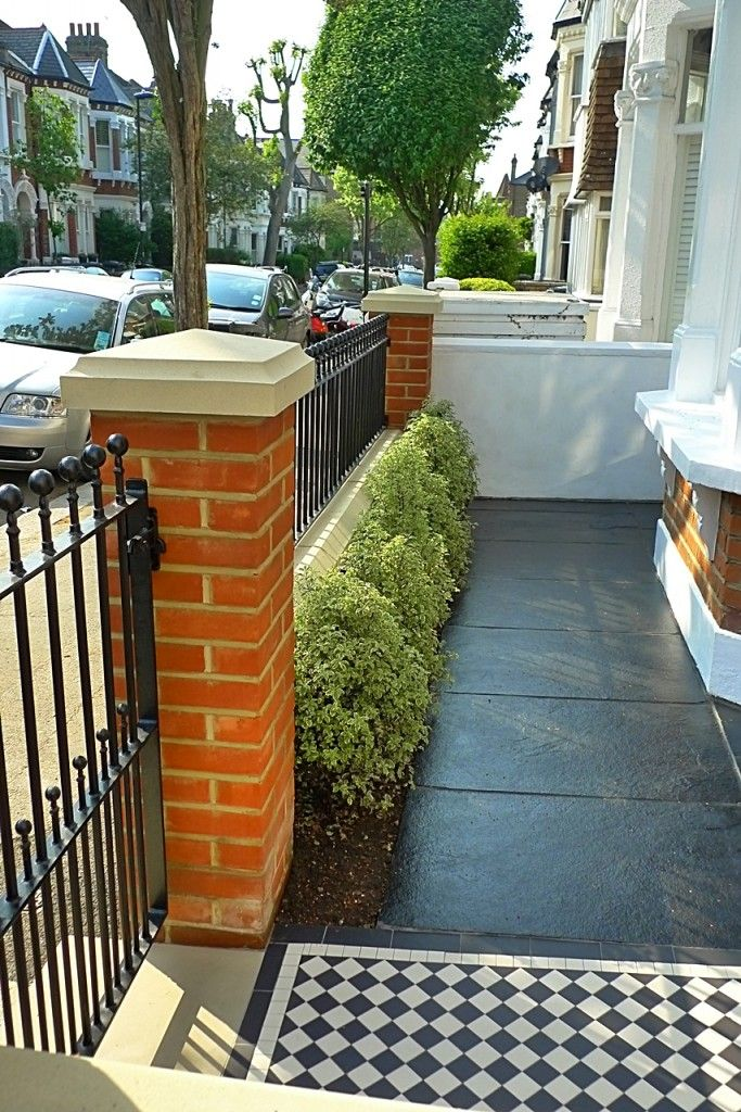 Victorian Front Garden Design London Red Rubber Brick Wall With