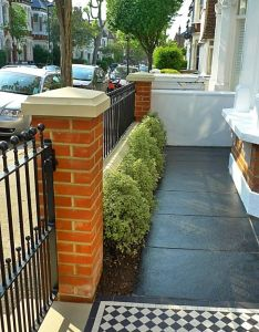 Victorian front garden design london red rubber brick wall with yellow composite pier cap and mosaic tile path paving designs visit also rh pinterest