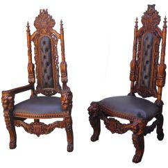Black Gothic Throne Chair Moon Lounge Chairs Carved Huge King Lion Dining
