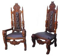 Gothic chairs | Carved Huge Carved Gothic King Lion Dining ...