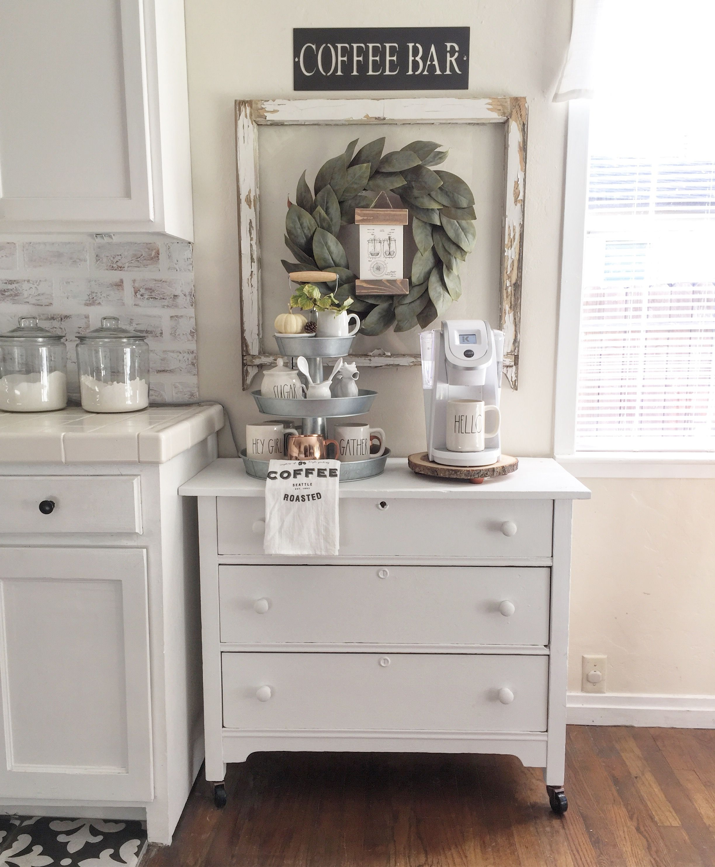 coffee bar in kitchen color cabinets rustic cottage farm pinterest and