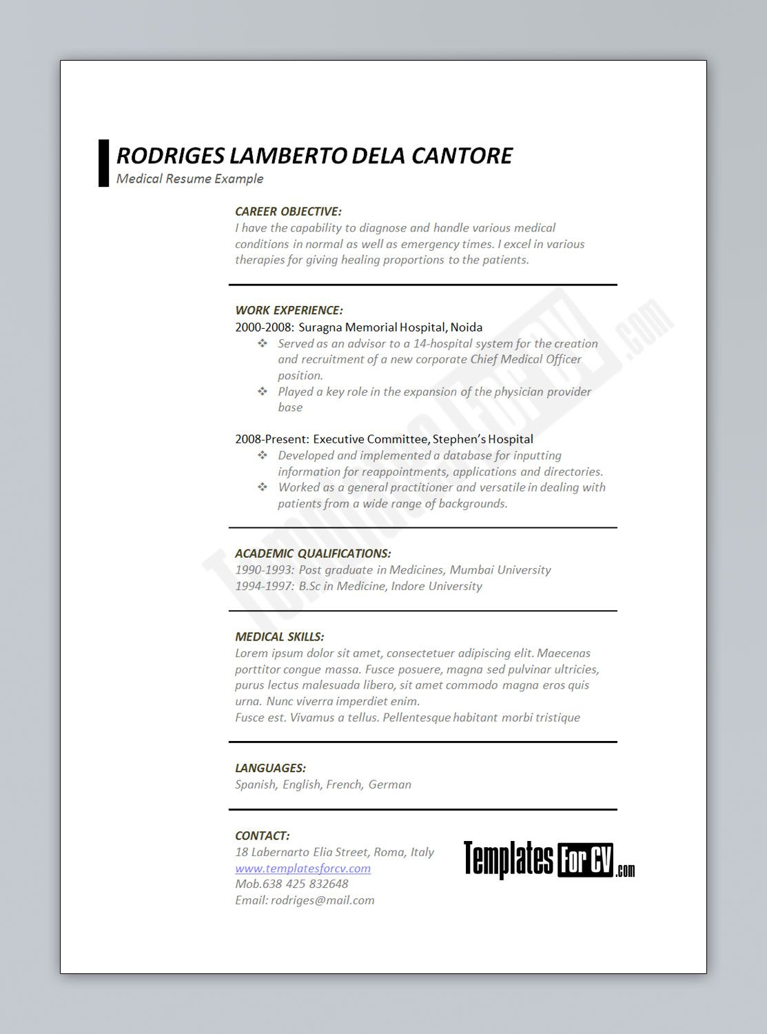 Pa Cv Template Resume Template Cv Templates Samples Examples Format