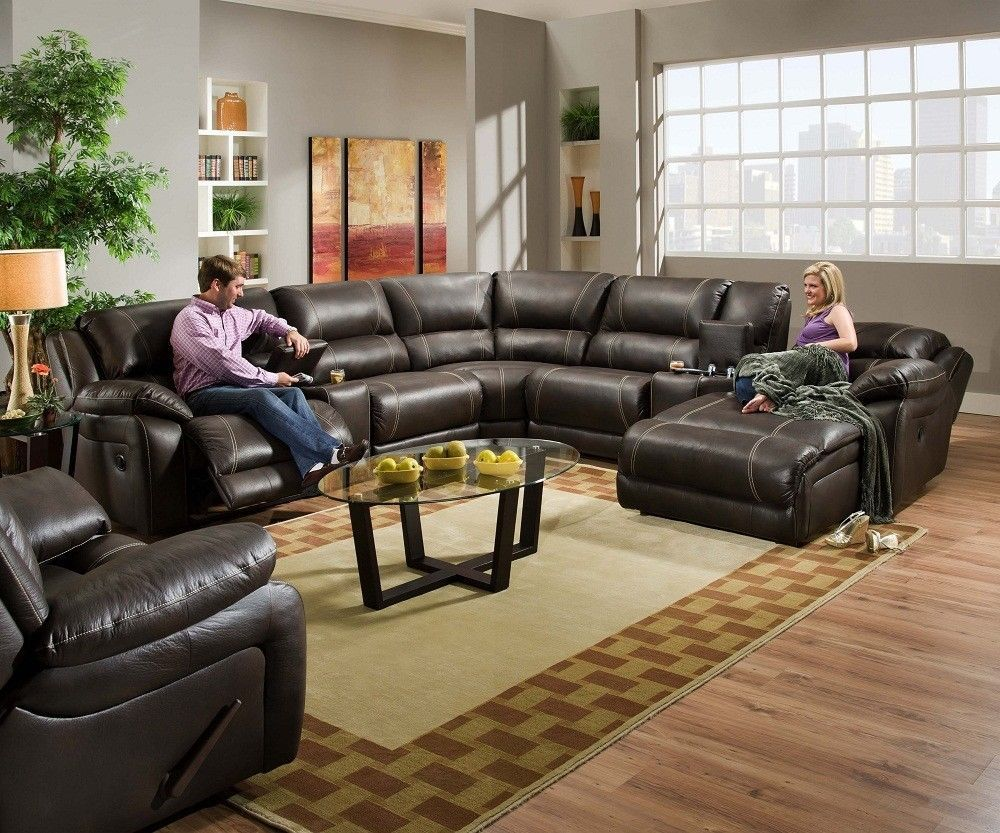Cocoa Brown Leather Living Rooms