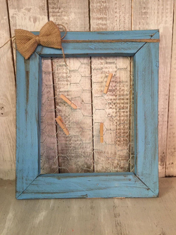 Chicken wire Frame, Rustic Chicken wire Frame, Turquoise