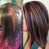 Blonde red brown hair color chunky highlight