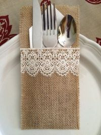 Set of 10+ Burlap Silverware Holders with Lace, Shabby ...