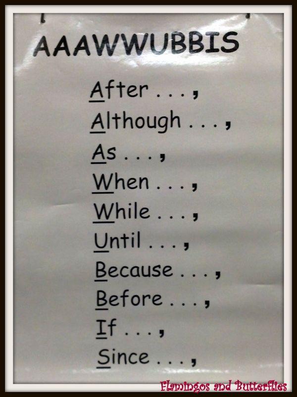 Complex Sentence Conjunctions