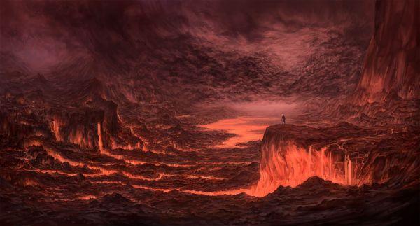 A hellish volcano landscape hell Pinterest Concept art
