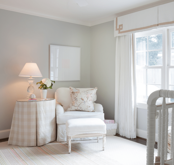 Chic Girl's Nursery Design With Soft Gray Walls Paint