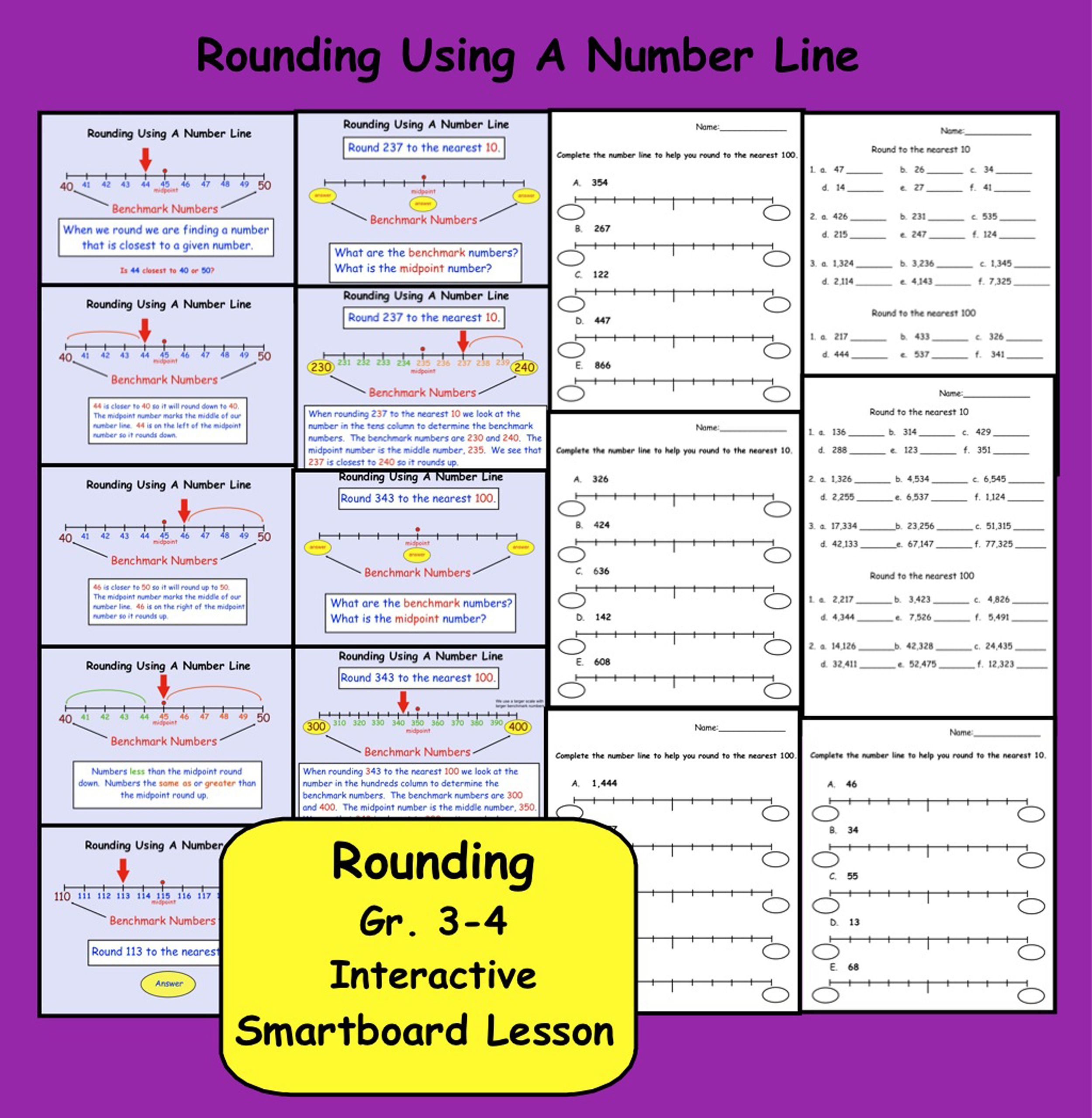 Rounding Using A Number Line Interactive Smartboard Lesson For Gr 3 4