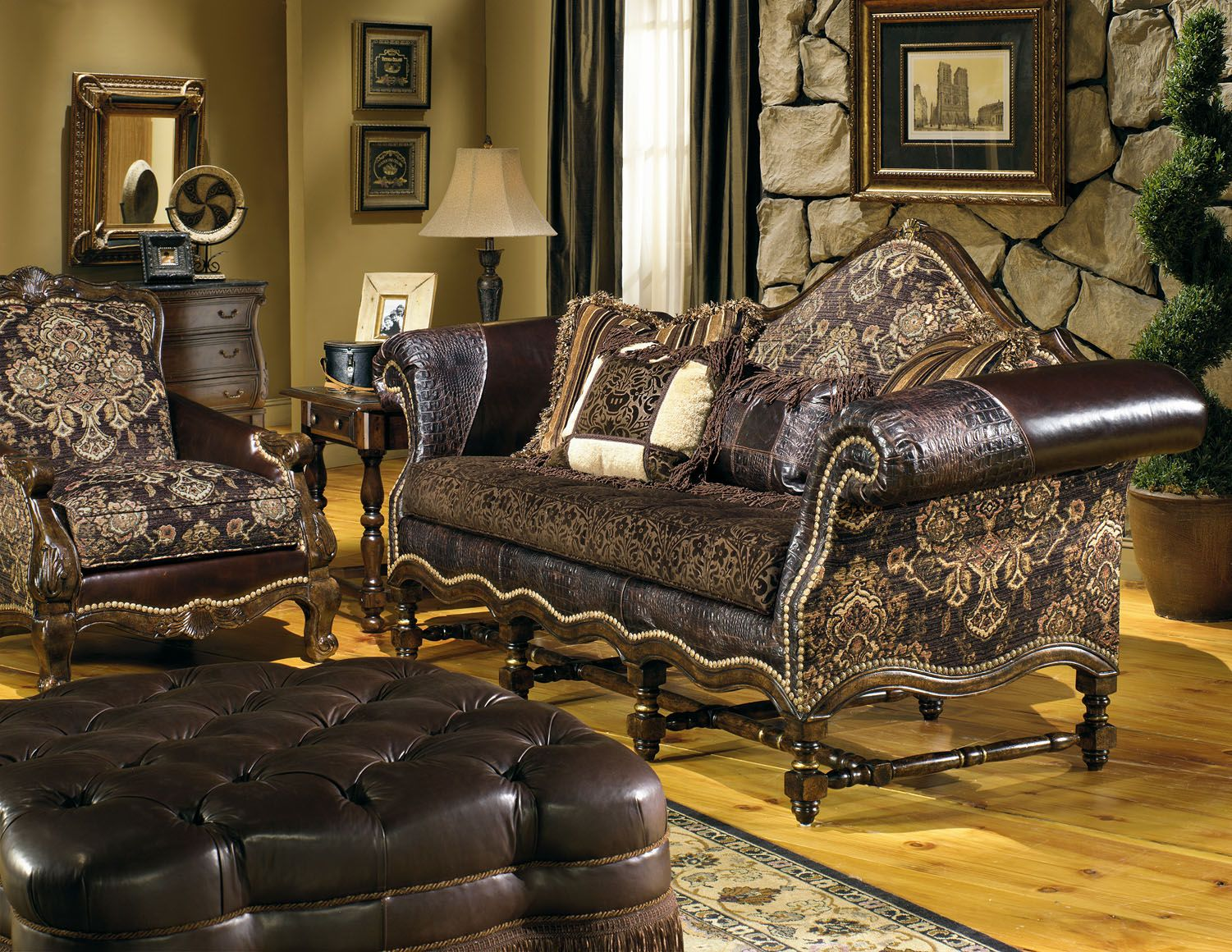 leather and fabric sofa in same room rooms to go cozy family hacienda