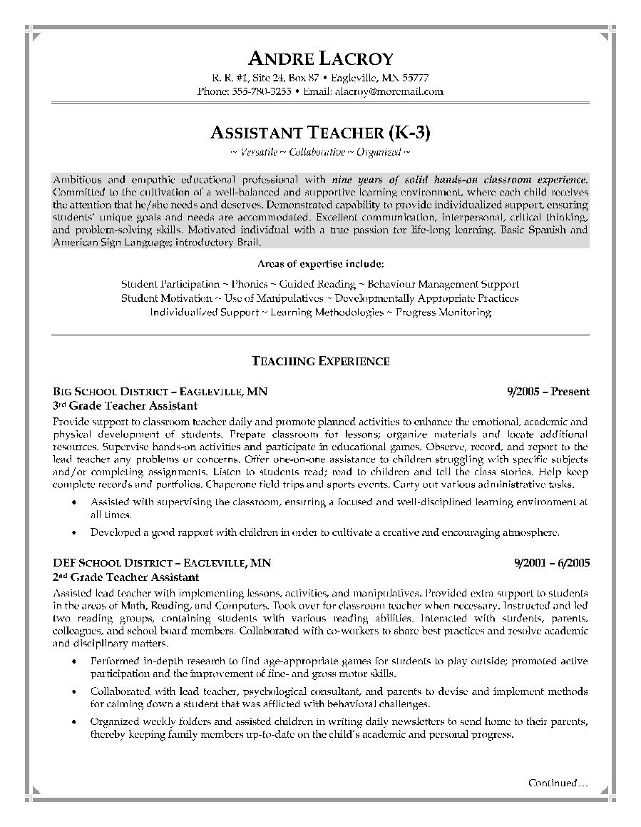 Teacher Assistant Resume Sample Jobresumesample Com 617