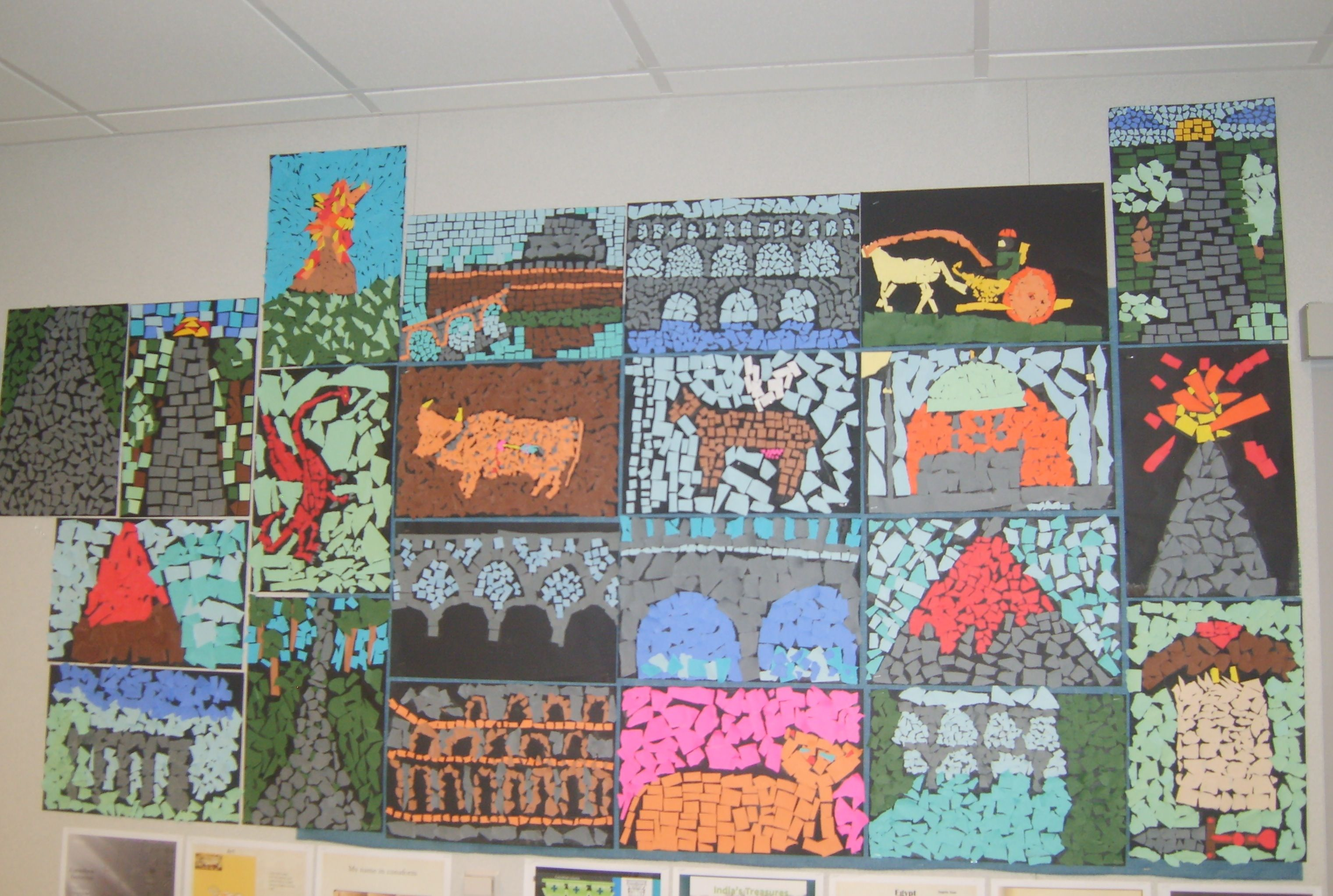 Roman Mosaics Made From Construction Paper Scraps A Great