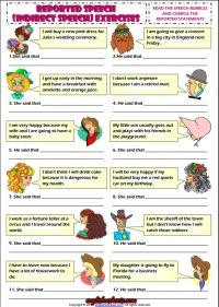 Indirect Speech ESL Grammar Exercise Worksheet | Esl ...
