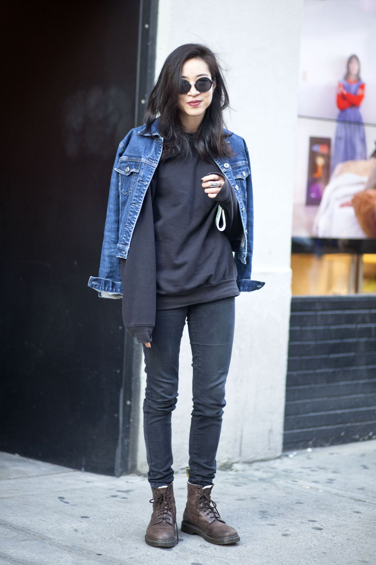 Qweary Female Stud Skater Style Black Denim Denim