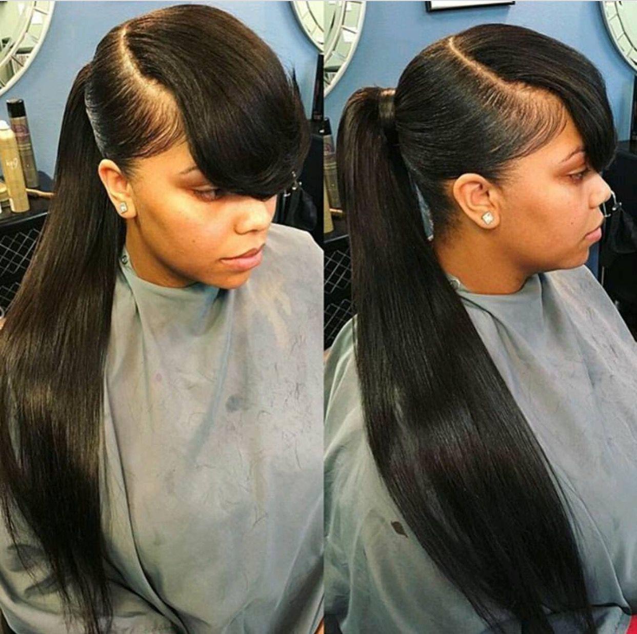 theextramile long pony and bangs natural hair growth pinterest pony bangs and ponytail