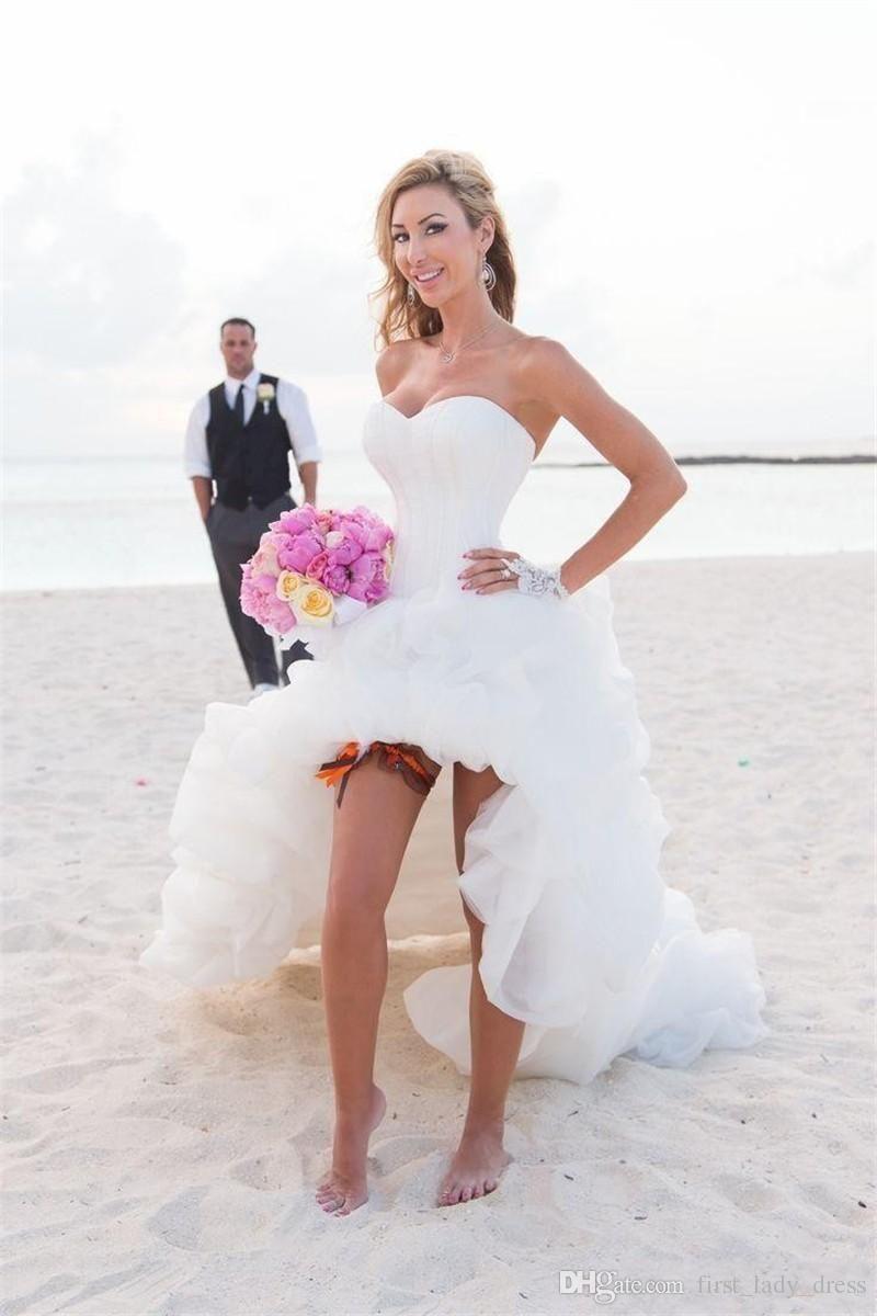 Western Style High Low Corset Bodice Beach Wedding Dress