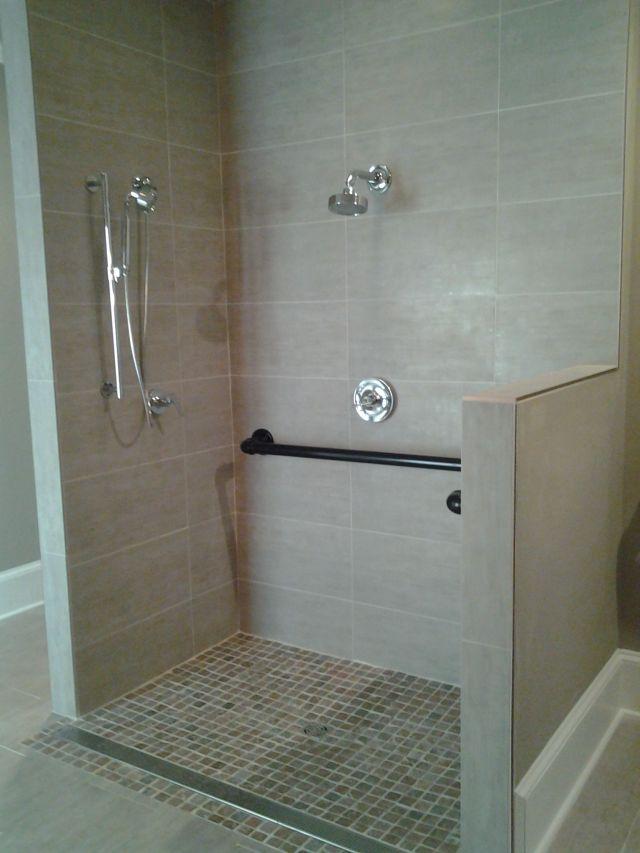 Handicap Accessible shower w custom grab bars