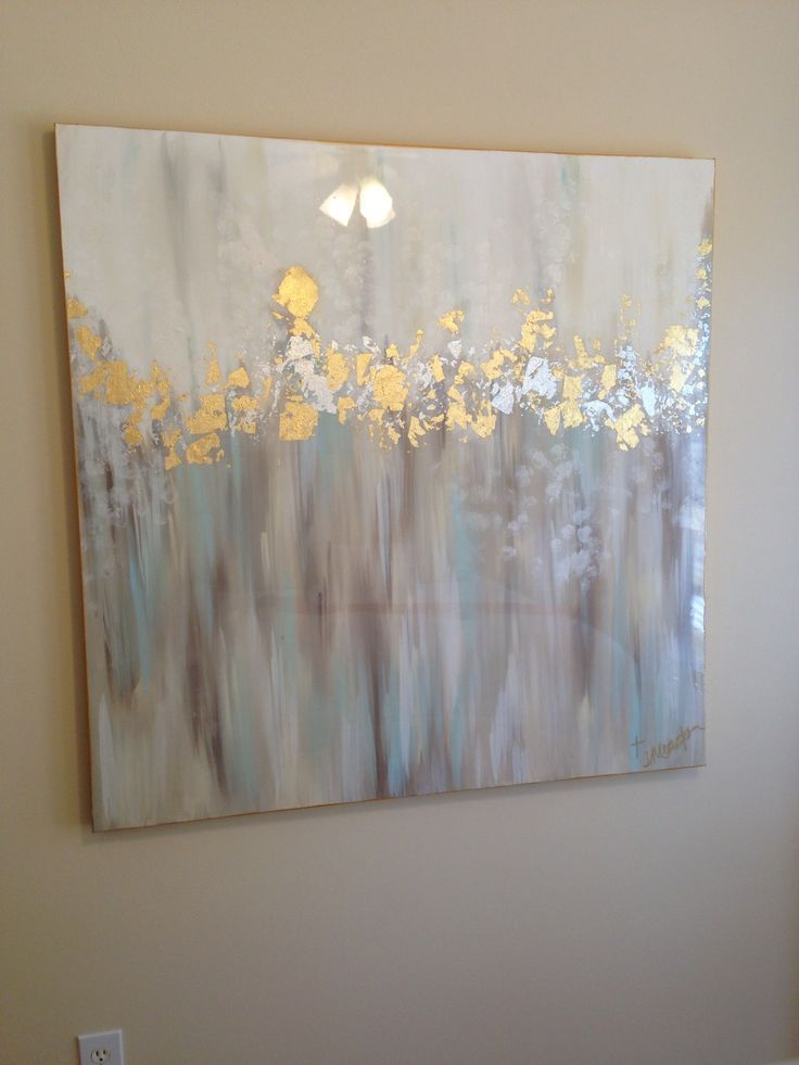 White gray blue gold and silver abstract art  Art