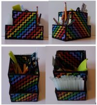 3D Perler bead pencil holder with 3 compartments I ...