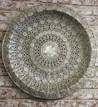 LARGE Antique Silver Colour Metal Filigree Moroccan Plate