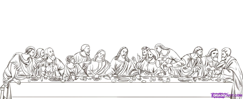 Leonardo Da Vinci The Last Supper Coloring Page preschool