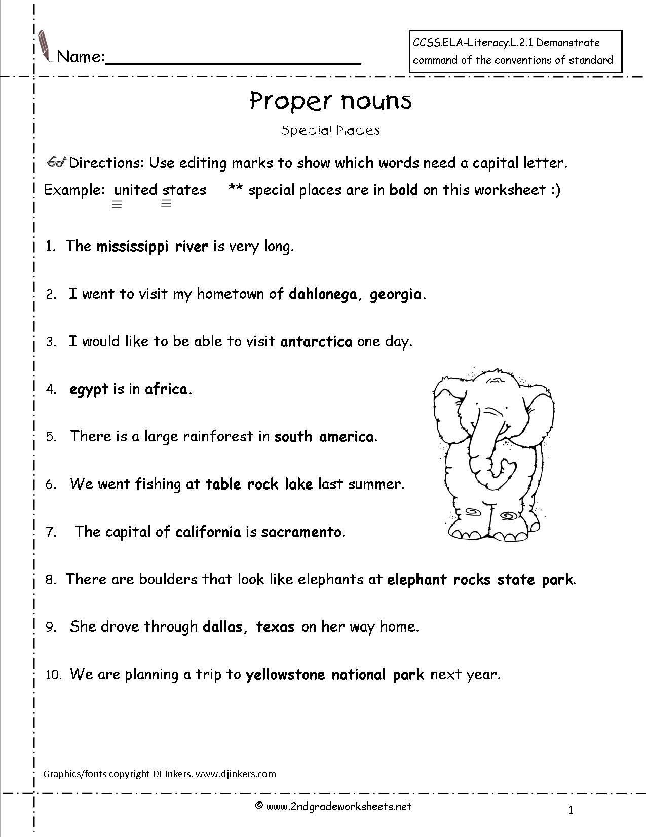 Proper Nouns Worksheet