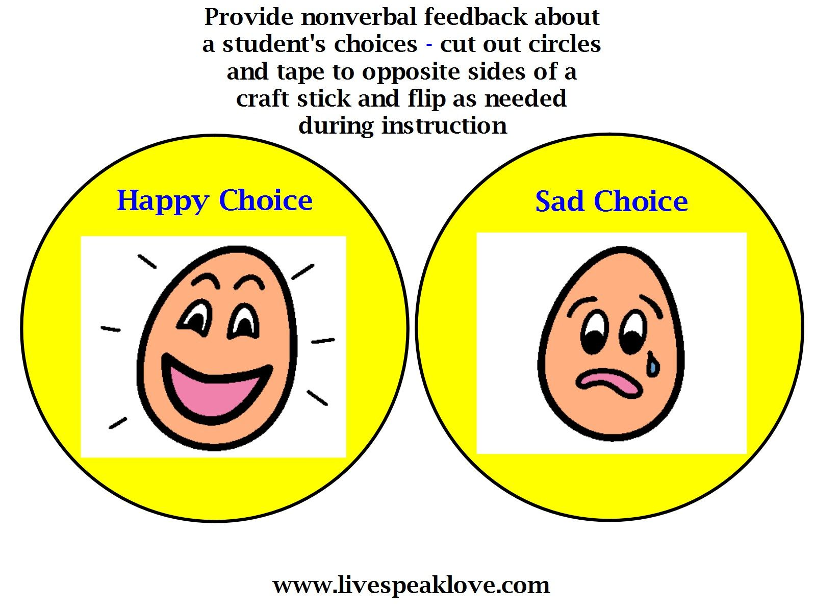 Visual Supports For Behavior Happy Choice Sad Choice