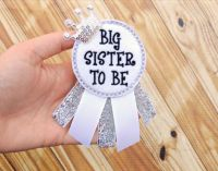 Sister to be corsage - Big sister corsage - Baby shower ...