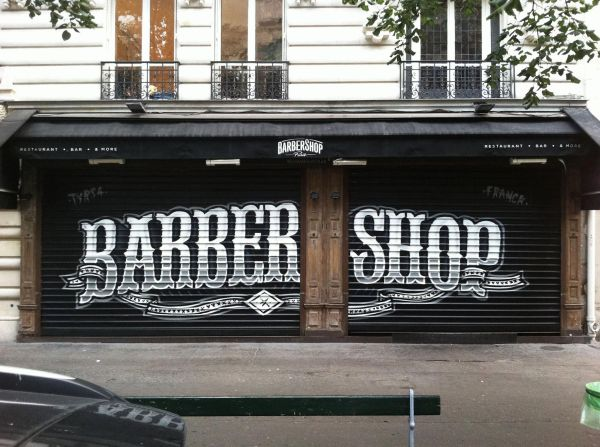 Hand Drawn Window Display - Google And Signage Barbers Shops