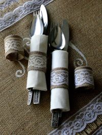 Burlap cutlery holders, 200 for 100 Silverware holders for ...