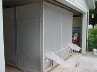 portable paint booth, PVC pipe, clear plastic, 9 furnace ...