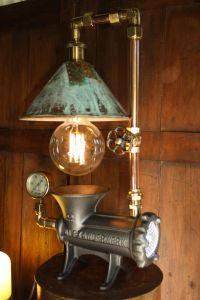 Steampunk lamp made from vintage meat grinder my first ...