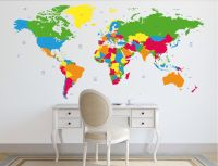 World map decal. Political world map Wall Decal. Country ...