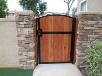 Wooden gate solid redwood metal contemporary iron garden ...