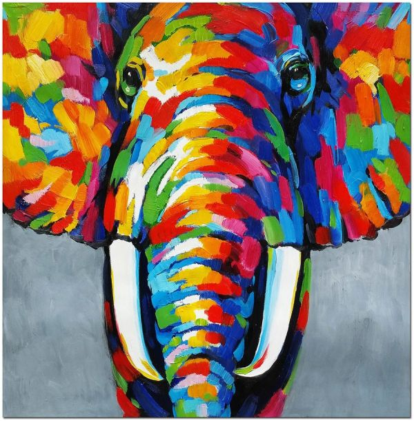 African Elephant - Signed Hand Painted Abstract Wildlife Oil Painting Gens Board
