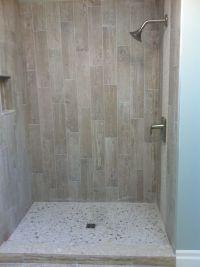 Wood Grain Tile With River Rock | showers | Pinterest ...