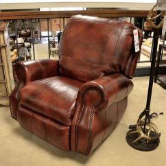 Nailhead Recliner Sofa Modern Modular Sectional Russet Brown Leather With Baseball Stitching And