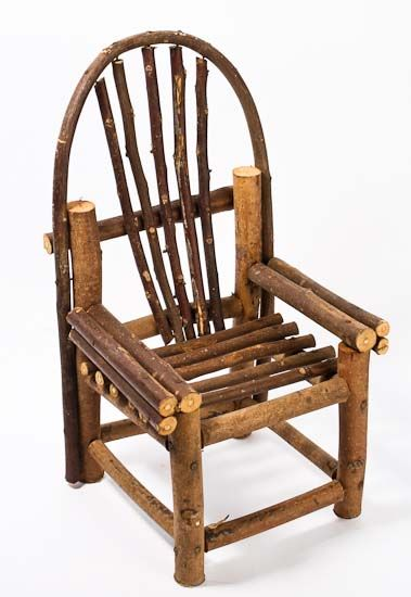 Rustic Wooden Mini Vine Twig Chair  Fairy Garden