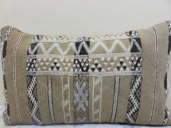 16 x 26 Vintage Home Decor striped Moroccan Kilim Lumbar
