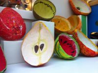 Papier-mch fruits. I will never do paper mch in class ...