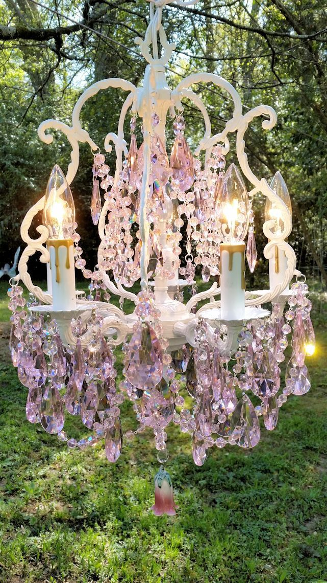 Antique Pink Crystal Chandelier Cottage Shabby Chic Bird Cage