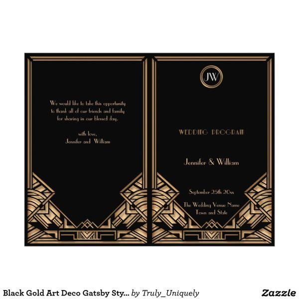 Black Gold Art Deco Gatsby Style Wedding Program Weddings