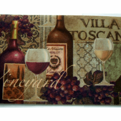 Wine Bottle Themed Kitchen Decor Home Depot Cabinet Refacing Tuscan Grapes Rug Cushion Mat The Perfect