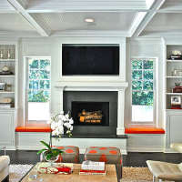 Window Seats Flanking Fireplace, Contemporary, living room ...