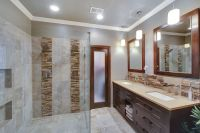 Contemporary Master Bathroom with Daltile Stacked Stone ...