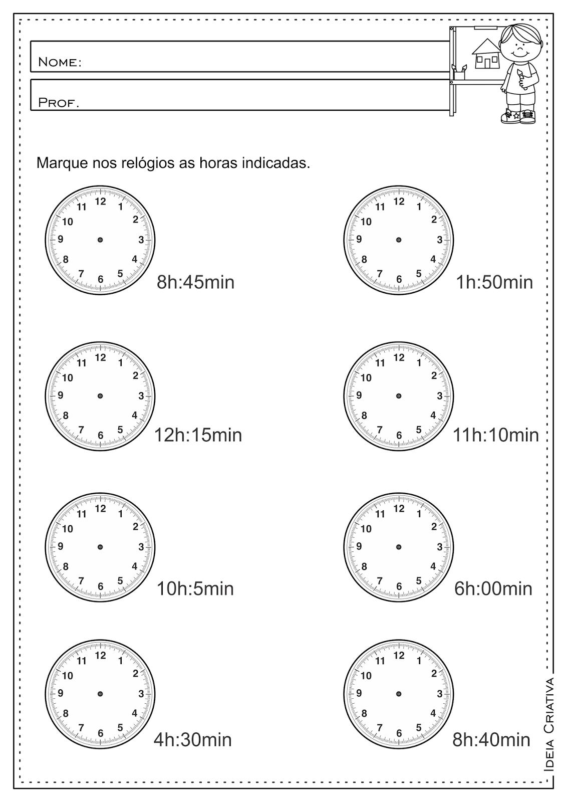Atividade Educativa Medidas de Tempo Hora Minutos e