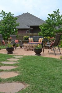 great firepit, stone walkway & patio. Good idea for ...