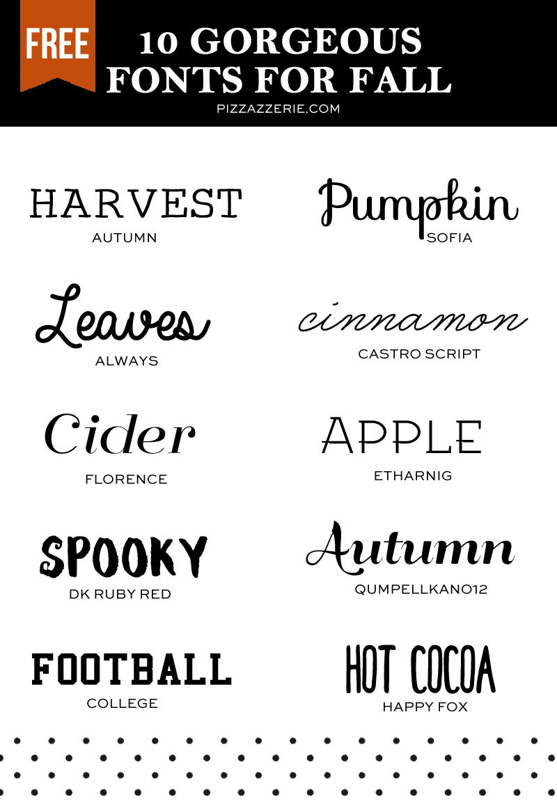 Favorite free fonts for fall designing! For printables